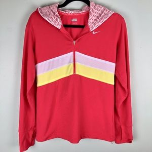 Nike | Coral White Yellow Striped Half Zip Medium